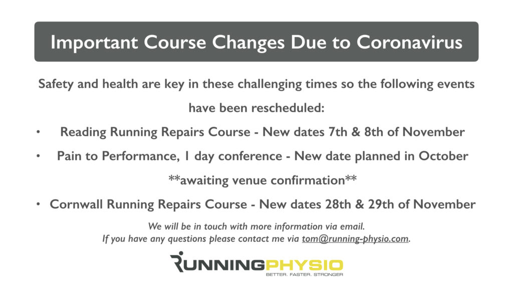 Important Course Changes Due to Coronavirus